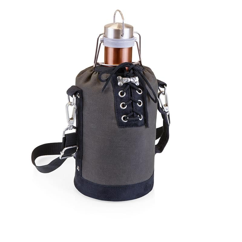 Growler Tote w/64 Oz. Stainless Steel Rose Gold Growler