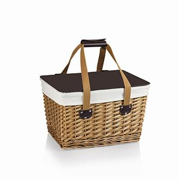 Canasta Willow Basket w/Removable Lid and Double Handles