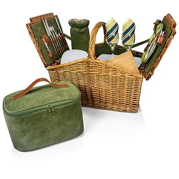Somerset Double Lid Deluxe Picnic Basket w/Service for 2