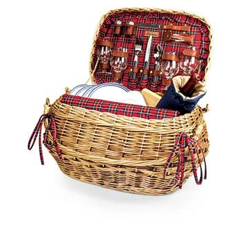Highlander Picnic Basket w/Service for 4