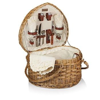 Heart Picnic Basket - Willow Basket w/Deluxe Picnic Service For 2