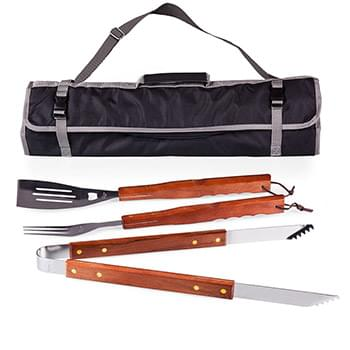 3 Piece Barbecue Tool Set w/Folding Carry Bag