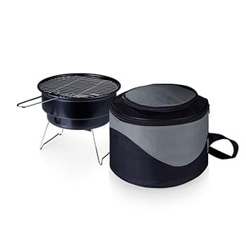 Caliente Portable Charcoal BBQ Grill w/Cooler Tote Bag