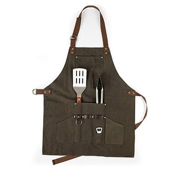 Waxed Canvas BBQ Grill Apron with tools and bottle opener