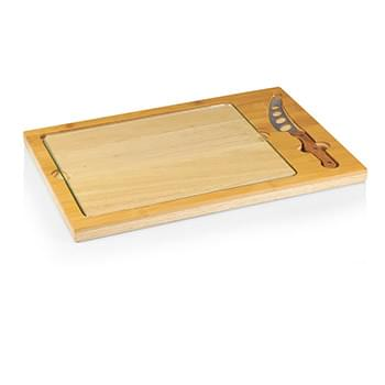 Icon Glass-Top Cutting/Cheese Board w/Removable Serving Tray